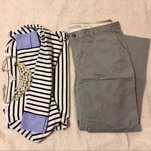 Wide-leg Grey Chinos